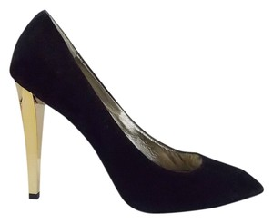 Diane von Furstenberg Sold Out Dvf Stilettos Suede Gold Heels Black Pumps