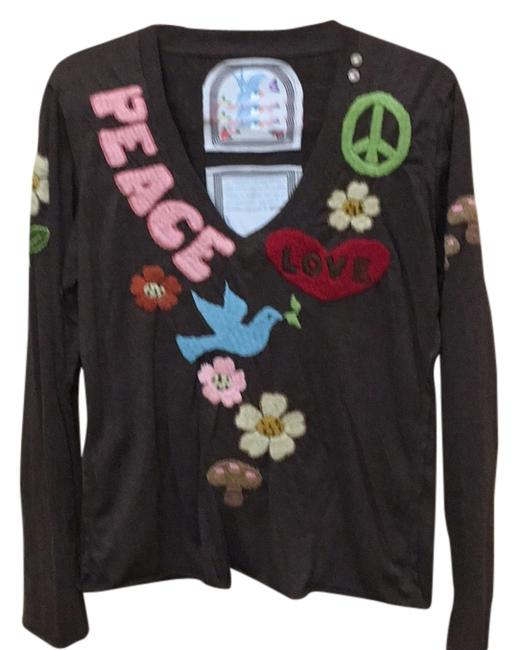 Item - Brown Embroidered Long Sleeve Tee Shirt Size 12 (L)