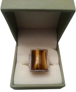 Gorgeous Rectangle Tiger Eye 925 Sterling Silver RingW