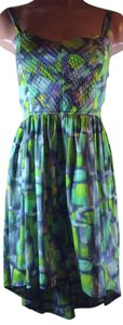 Band of Gypsies short dress Green Print Tank Quilted Print Green Hi Lo High Low Pink on Tradesy