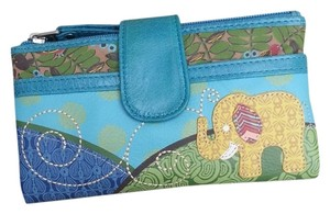 Fossil Wallet Leather Wallet Wallets Vintage Artsy Whimsical Elephant Embroidered blue combo Clutch