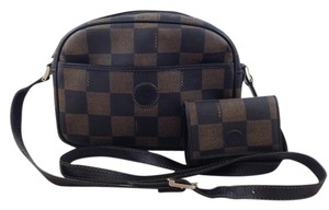 Fendi Vintage Checkerboard Leather Adjustable Coated Canvas Cross Body Bag