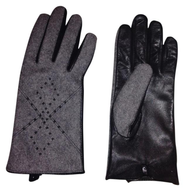 Item - Black/Grey Wool and Leather Gloves