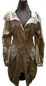 Biya Silver Hooded Military Inspired Metallic Olive/Grey Shimmer Jacket