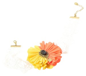 New Lace Flower Choker Necklace Adjustable Length White Orange Brown J2180