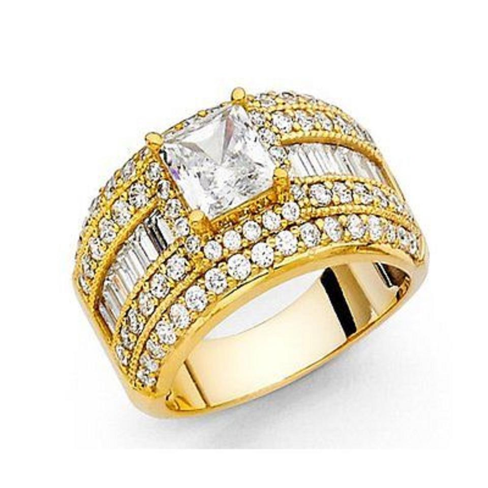 ring size gold diamond i princess cut engagement man yellow made