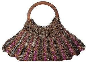 Mary Frances Gold Aztec Trail Faux Leather Beaded Wood Handle Pink Clutch