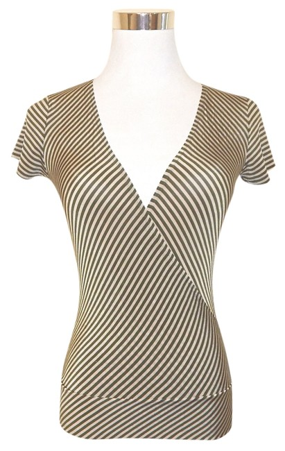 United Colors of Benetton Faux Wrap Striped V-neck Top Green & Beige