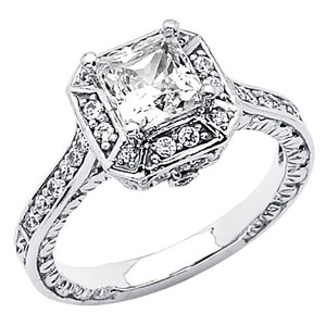 14k White Gold Princess Cut Man Made Diamond Engagement Ring Size 6