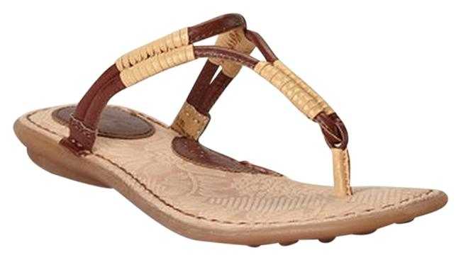 Item - Brown Saddle & Oro Reverie Leather T-strap Sandals Size US 7 Regular (M, B)