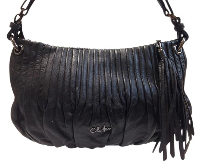 Item - Pleated Gathered Black Leather Baguette