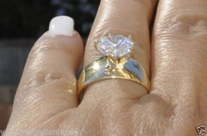 Solid 14k Yellow Gold 1.50 Ct Round Man Made Diamond Engagement Ring Size 5 6 7 8 9 10 11