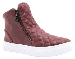 Qupid Burgundy Quilted Zipper High Top Red Athletic