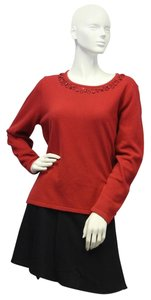 TanJay Red Sweetheart Embellished Sweater Size L
