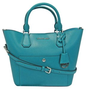 Michael Kors Greenwich Grab Tote Satchel in Turquoise Blue