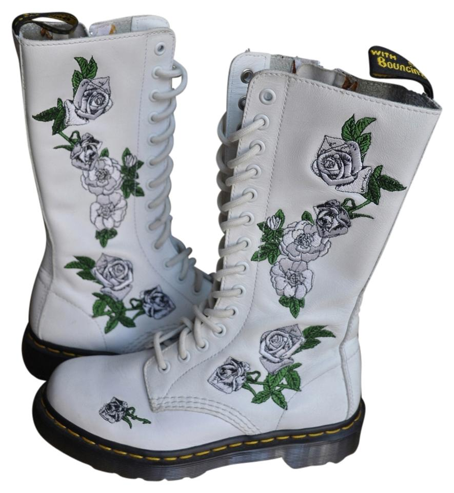 Dr martens white white roses vonda 14 eye bootsbooties size us 5 dr martens white white roses boots mightylinksfo Image collections