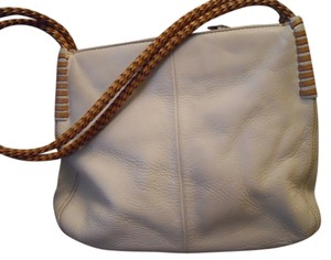Fossil Leather Cream Beige Tote in bone & tan