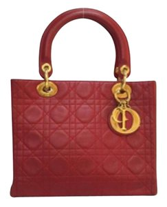 Dior Cd Leather Medium Satchel in red