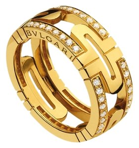 BVLGARI BVLGARI PARENTESI RING DEMI PAVE DIAMONDS YELLOW GOLD AN854231 US 5.25