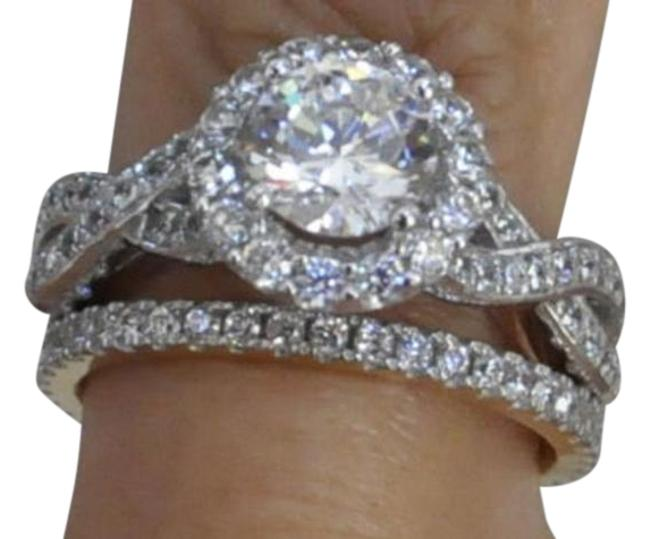 Item - White Gold 14k Solid Engagement Ring and 2pc Women's Wedding Band Set