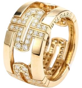 BVLGARI BVLGARI PARENTESI RING DEMI PAVE DIAMONDS YELLOW GOLD AN854230