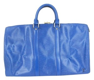 Louis Vuitton Duffle Keepall Epi Leather Blue Travel Bag