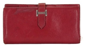 Hermès Bifold Chevre Red Burgundy Clutch