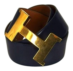 Hermès XL 42MM Black Leather H Gold Buckle Belt 177003 HTL139
