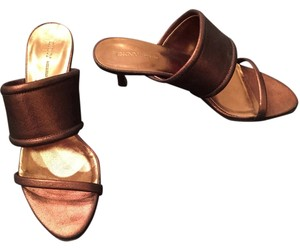 DKNY Slides Leather Bronze Sandals
