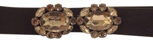 BCBGMAXAZRIA Bcbg stone crystal faux diamond stretch belt black