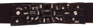 BCBGMAXAZRIA Bcbg stone crystal faux diamond stretch belt black SIZE 6 S Small