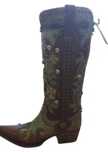 The Lane Company Brown and Teal Boots