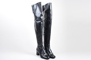 Gucci Silver Tone Leather Charlotte 55mm Black Boots