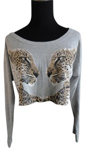 Love Culture New Leopard Longsleeve Croptop White Black Brown Top Grey