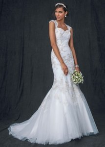 David's Bridal Ivory/Gold Tulle Over Satin and Lace Trumpet Gown Style Wg3640 Vintage Wedding Dress Size 4 (S)
