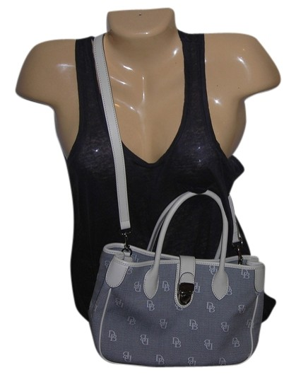 Preload https://item1.tradesy.com/images/dooney-and-bourke-gray-white-canvas-leather-shoulder-bag-1264865-0-0.jpg?width=440&height=440