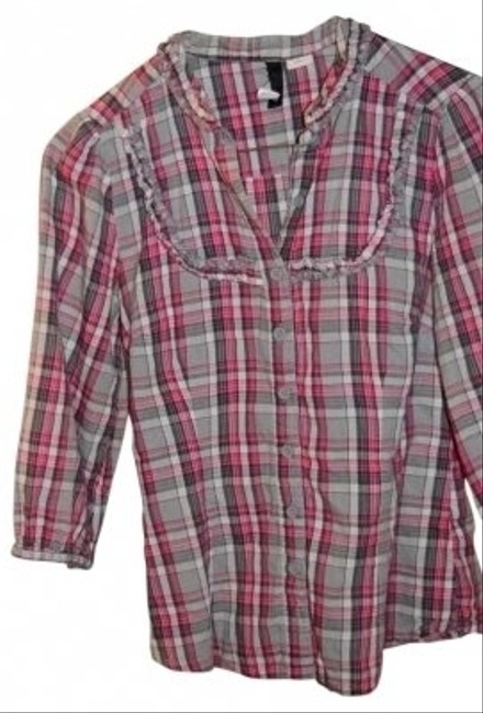 Divided by H&M Adorable! Ruffles Across Chest Measurements Are 16 Top Pink/Grey/White Plaid