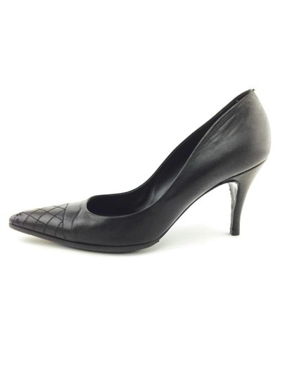Chanel Leather Quilted Stiletto Black Pumps