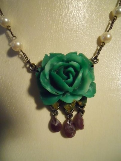 Monet Monet green flower with purple stones & faux pearls