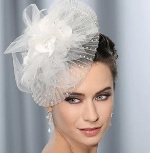 Tres Chic Bridal Fascinator With Pleated Brim Pearls & Crystals