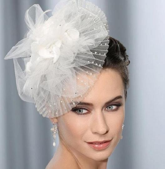 Ivory Tres Chic Fascinator with Pleated Brim Pearls Crystals Hair Accessories