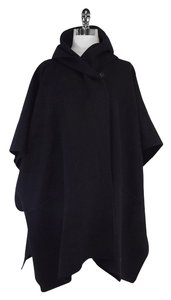 Max Mara Black Wool Hooded Poncho Cape