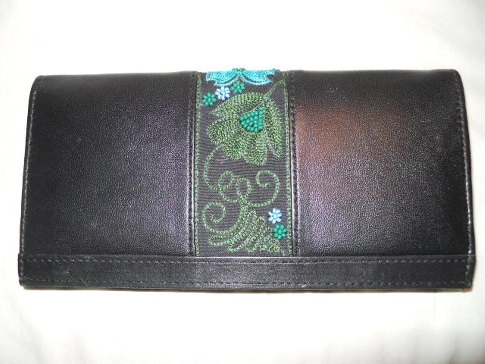 19a9fb2fd6 Black Christina Beaded and Embroidered Leather Wallet