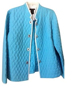 Tara Ryan Lightwieght Spring Trim Silver Button Polyester Large Comfortable No Quilted Stitch Design Ocean Blue, Blue, Sky Blue, White Jacket