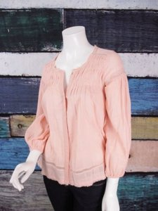 Anthropologie Lilis Cotton Elfin Folds Peasant Shirt Top Pink