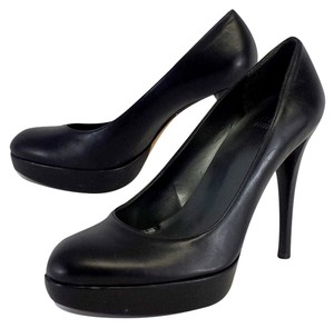 Stuart Weitzman Black Leather Platform Pumps