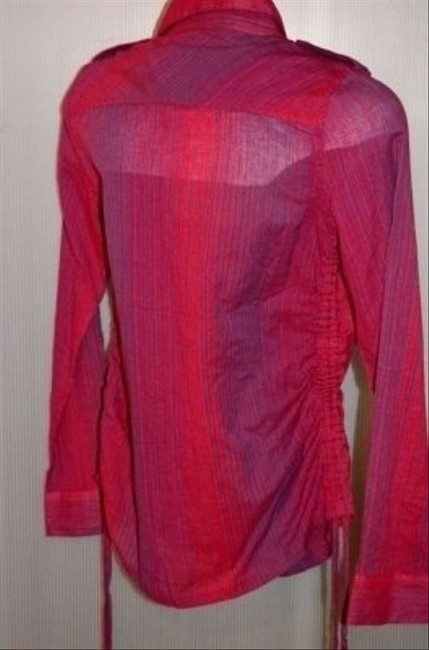 Billabong Adorable! Lapels On Tailored Logo On Front Size M Fitted Measurements Are 18 Top Red/Purple Pinstripe