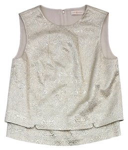 Tory Burch Champagne Metallic Silver Top