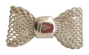 New Silver Tone Adjustable Ring Large Chunky Bow J2182