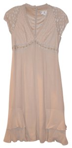 Badgley Mischka Beige Cocktail Taupe Cocktail Detail Dress